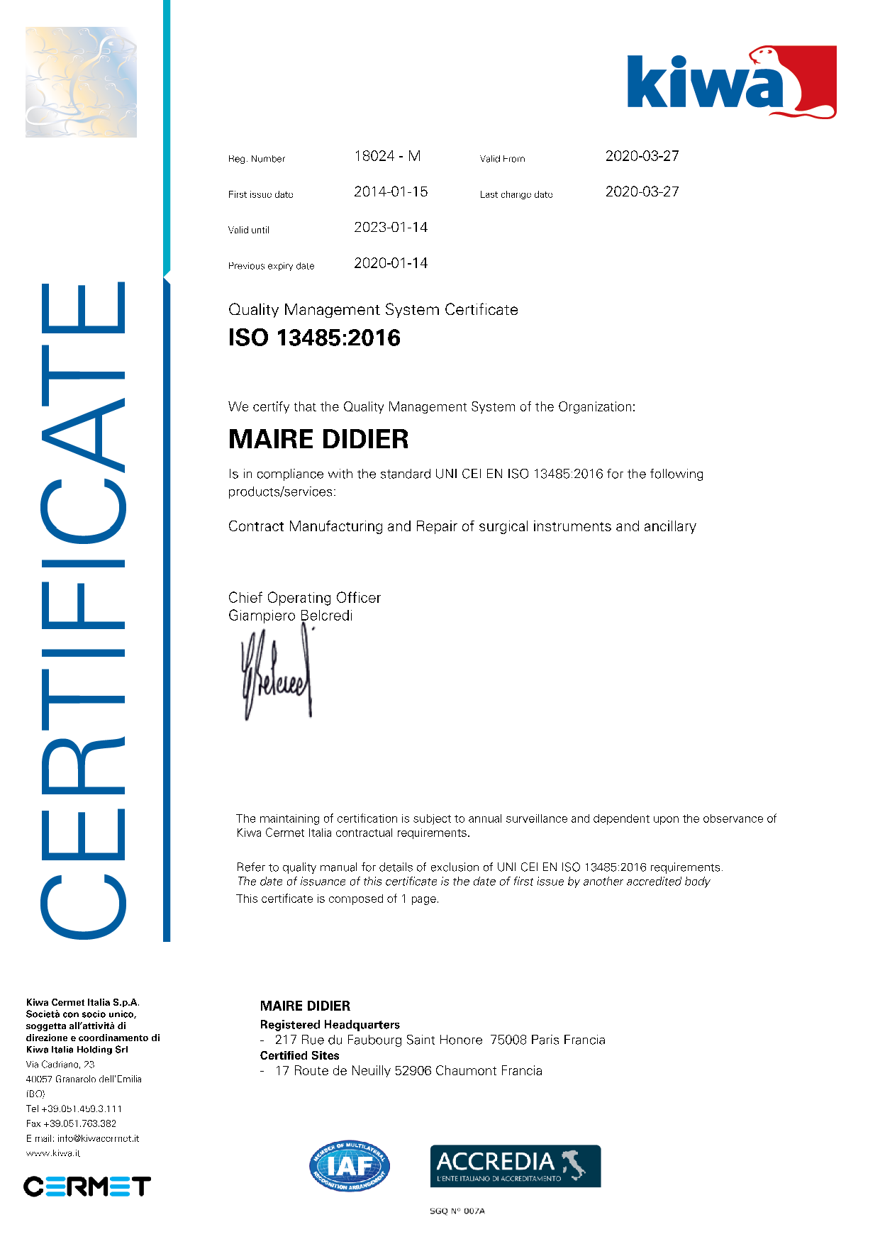 Certification Iso Maire-Didier